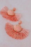 Large Coral Pink Tassel Earrings.