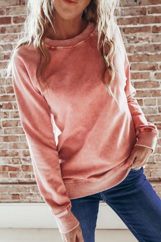 Basic Washed Out Crewneck Sweatshirt - Mauve