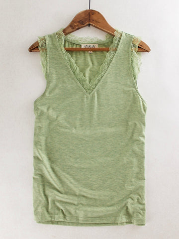 a572ed57420 Dainty Lace Trimmed Tank Top