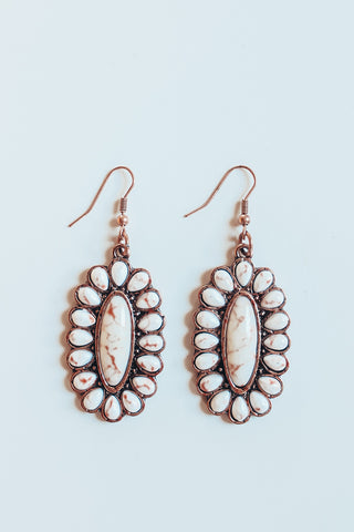 Oval Concho Natural Stone Earring - White