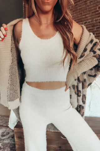 Fuzzy Scoop Neck Brami - Cream
