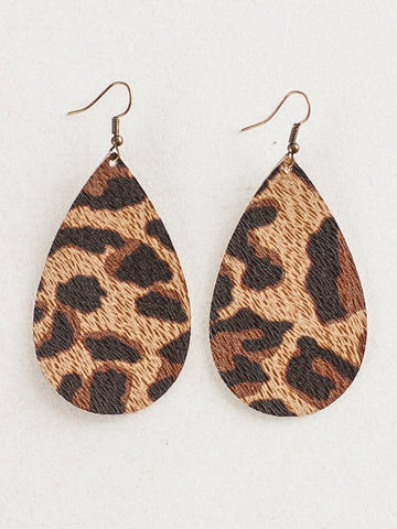 Jones & Lake Large Leather Teardrop Earrings