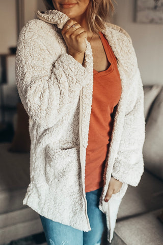Women's cozy sherpa cardigan. Warm fuzzy robe.