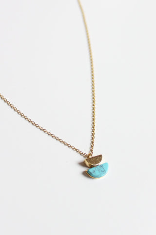 Double Half Moon Gold + Turquoise Necklace