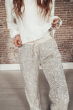 Women's sequin jogger pants.