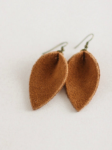 Jones & Lake Medium Leather Leaf Earrings