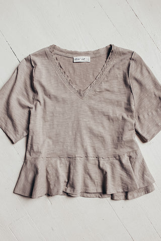 Taupe babydoll top.