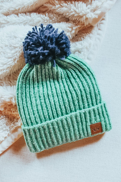 Green Speckled Pom Pom Beanie