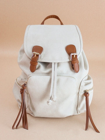 Faux Leather Flap-over Backpack