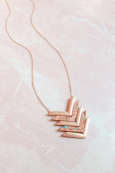 Gold and Cork Chevron Necklace