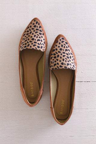 Leopard and Faux Suede Casual Flats