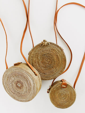 Round Woven Basket Bags
