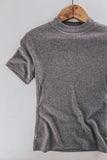 Mock Neck Ribbed Tee