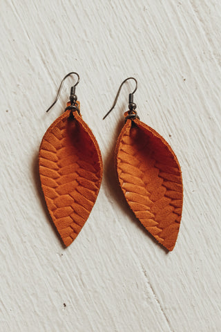 Handmade in the USA leather leaf earrings.