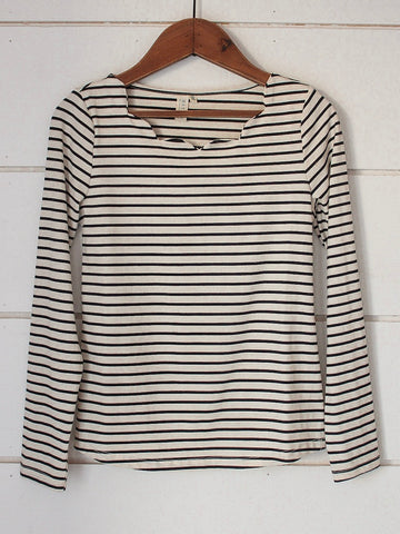Striped Scalloped Neck Top