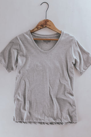 Women's Richer Poorer Scoop V Tee in heather grey.