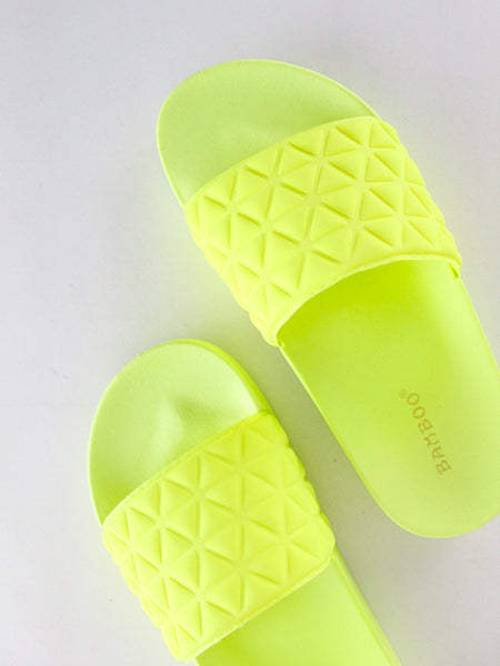 Neon Quilted Slides