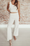 Fuzzy Wide Leg Pants - Cream