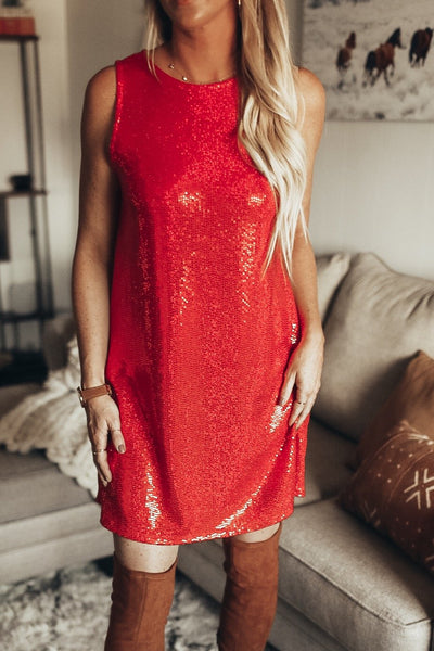 women's red sequin dress. holiday party dress
