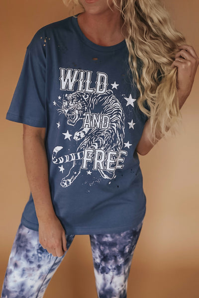 Wild and free boyfriend fit graphic tee.