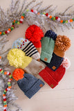 Color Blocked Pom Pom Beanie