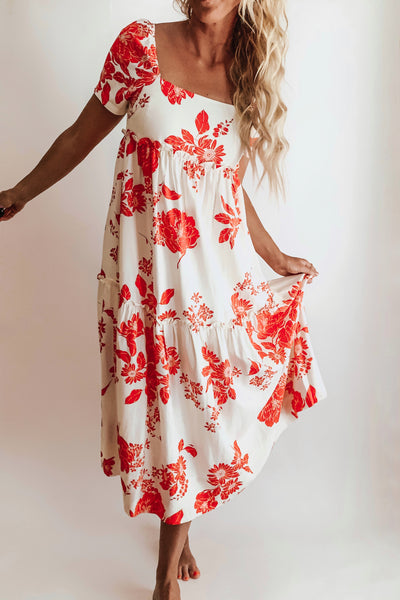 Floral Print red dress.