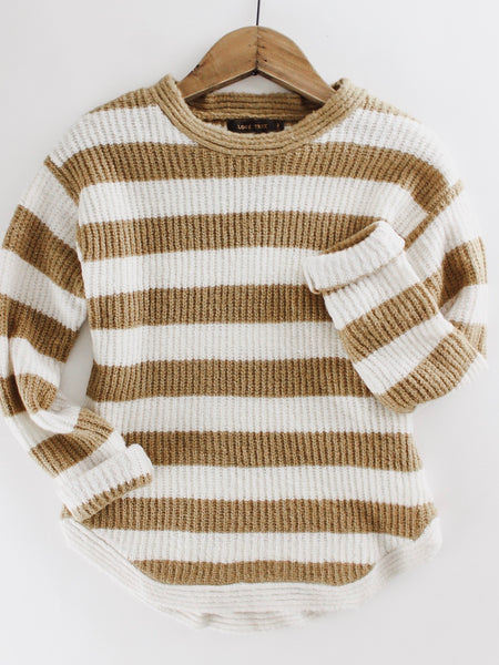 Camel and Cream Striped Sweater