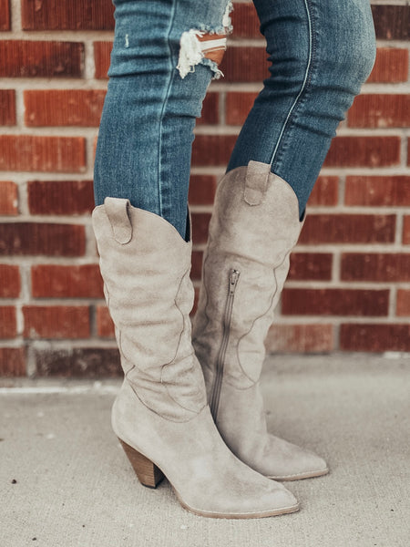 Slouchy Suede High Heeled Boot