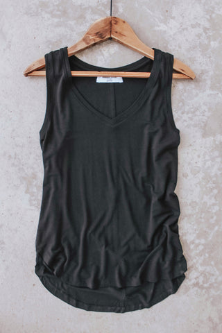 Women's basic v-neck tank top. Solid black.
