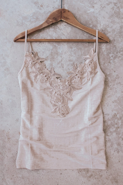 Champagne lace camisole.