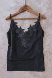 Black lace camisole.
