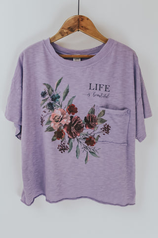 Lavender Floral Graphic Tee.