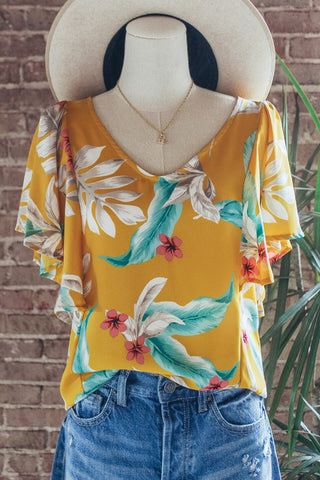 Yellow Floral Hi-Low V-neck Top