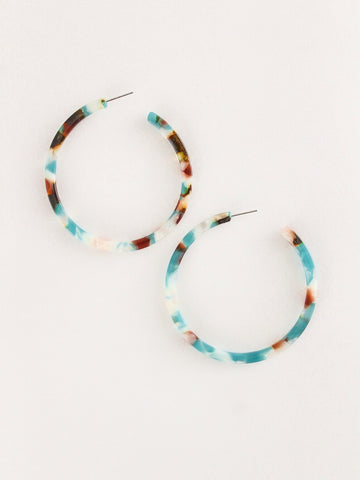 Large Turq + Tort Open Hoop Earrings