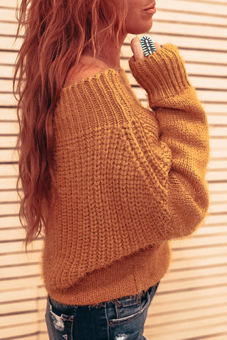 Fuzzy Knit Off The Shoulder Sweater