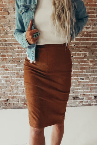 Faux Suede Pencil Skirt