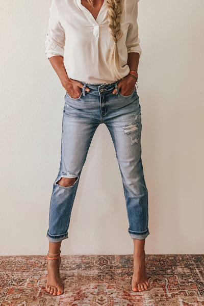 KanCan super high rise distressed mom jean.