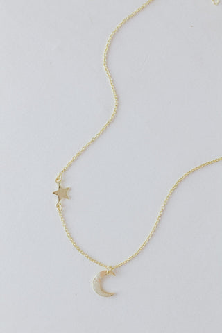 Dainty Moon + Star necklace.