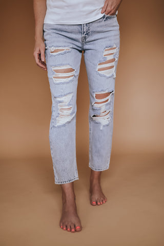 Women's Hidden High Rise Distressed Boyfriend Jeans. Light Wash.