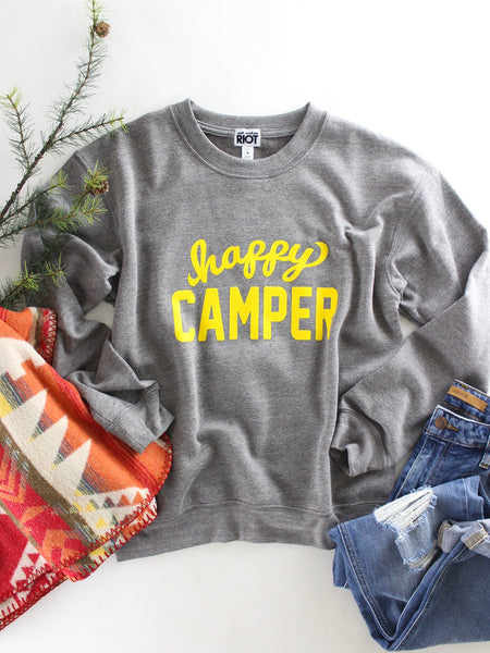 Happy Camper Graphic Sweatshirt. Grey with sunshine yellow graphics. Cozy and cute style.