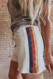 Oatmeal Side Stripe Sweat Shorts