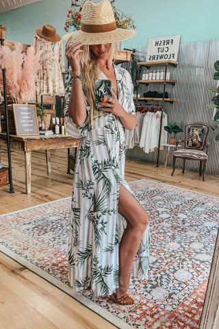 Tropical Print Striped Maxi Dress