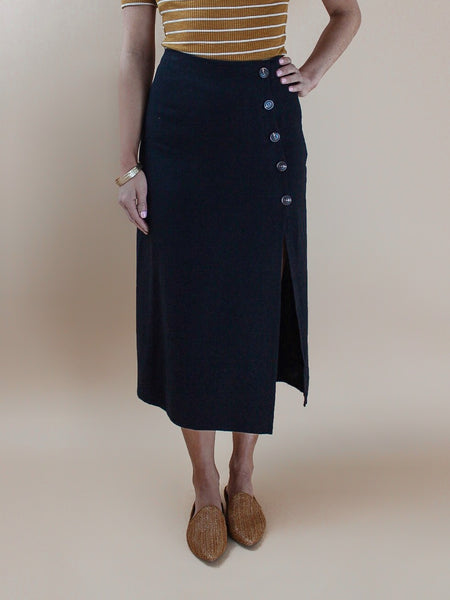 Buttoned Black Pencil Skirt