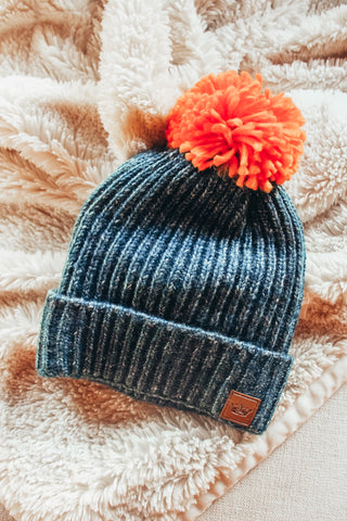 Navy Speckled Pom Pom Beanie