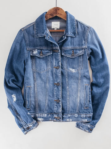 Women's Distressed Denim Jacket medium wash
