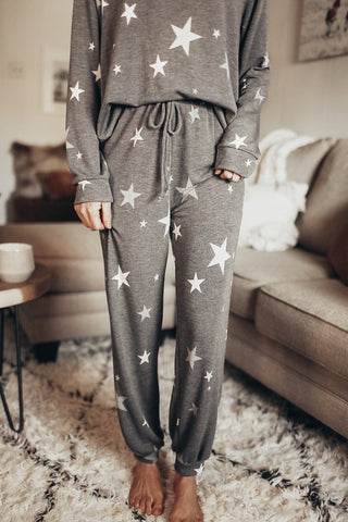 Star print lounge pants for women.