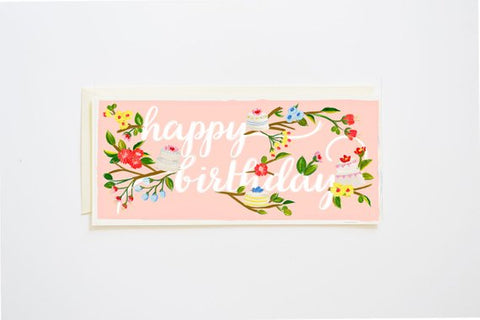 Happy Birthday Card Branches & Cake in Blush