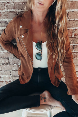 Camel colored moto jacket