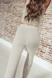 Fuzzy Wide Leg Pants - Mocha