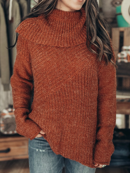 Heathered Rust Wide Neck Sweater